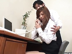Asian cuttie getting toy fucked at the office