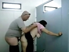 OLDIES enjoy sex at bathroom - HORNY OLDIES