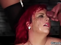 Wacky sex kitten gets cum load on her face gulping all about be transferred to ejaculate