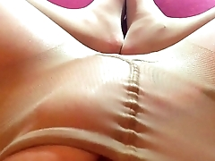 Pantyhose fetish and a footjob. Collant Fetish con Footjob. HotwifeVenus.