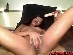 Black babe MzRoberts fucks her tiny pink pussy ALIVEGIRL