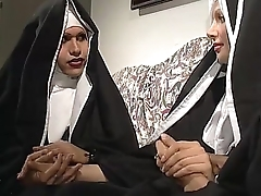 Two nuns are comforting a sister, but she don'_t know they'_re two powered shemales!