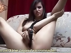 Euro Babe With Deflated Tits Sticks A Dildo Deep Inside Her Wet Pussy