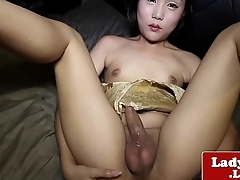 Cute amateur ladyboy solo toying her fine ass