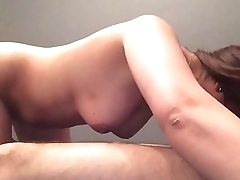 My Indian girlfriend sucking my dick with her boots on in doggy position