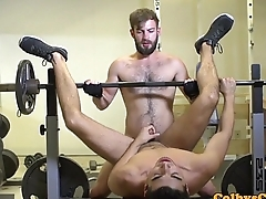 Throated gym jock assfucked while jerking off