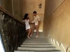 Sexy dark haired European fucked hard by a beamy cock