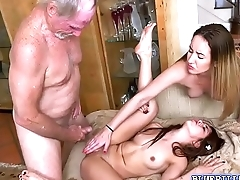 Sexy babes Sally and Gigi in a hot threeway fuck