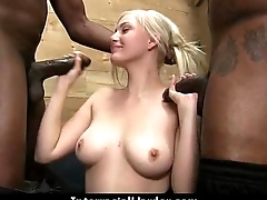 White girl unentangled to swallow cum from black cock 28