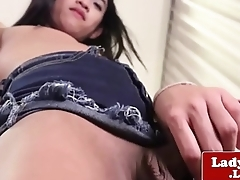 Ladyboy amateur stripping and spreading ass