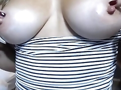 CamGirlsUSA - Blonde MILF Masturbates Pussy and Plays With Nipples exposed to Big Tits