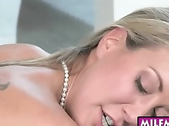 Big tits MILF Brandi Love very hot 3some on the couch