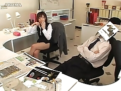 Japanese business lady likes to handjob in office