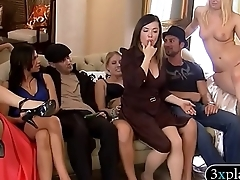 Bunch of singles solve and foursome in Playboy mansion