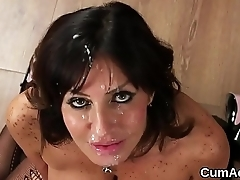 Nasty model gets cum shot on will not hear of face swallowing all the sperm
