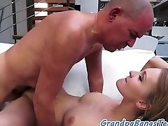 Young tattooed babe fucks in doggy
