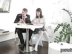 Erotic college girl was seduced and pounded by her older mentor