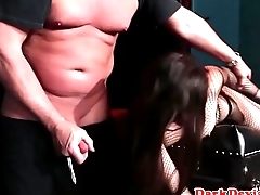 Latex submissive whipped and humiliated