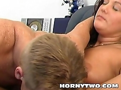 Beautiful obese amateur MILF bitch fucks a young lad hardcore till fat cumshot