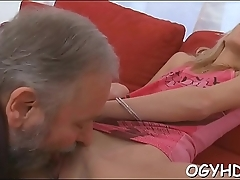 Cute young gal fucked by old boy