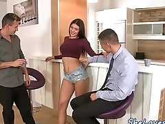 Perfect babe spitroasted by two hard cocks