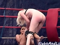 Petite lesbian babe in arms wrestling with euro dyke