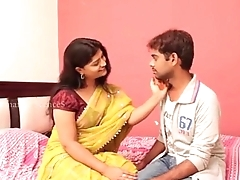 Indian sexy sashi aunty with huge cleavage gropped together with enjoyed by young boy anil in bed room - Sex V