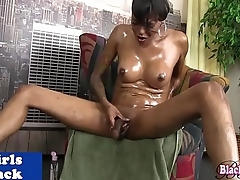 Black hung tgirl solo stroking her cock
