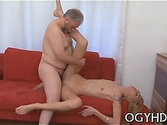 Old guy seduces young playgirl