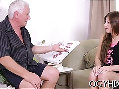 Young active girl blows old ramrod