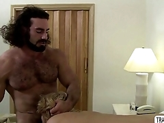 Shemale Aspen Brooks is being fuck by hunk muscle Jaxton at bed