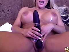 Awesome published glam blonde Tegan James with huge beautiful tits