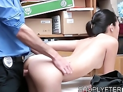 Stealing Asian Cutie gets busted and fucked